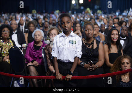 Washington, DC, USA. 17th Sep, 2016. A young boy listens to U.S. President Barack Obama as he speaks to the Congressional - Stock Photo