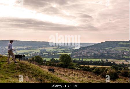 Little Solsbury Hill, Batheaston, Somerset, UK. 18th Sept, 2016. A dog walker looks out over Bathampton water meadows - Stock Photo