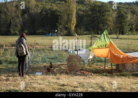 Testet's ZAD - Dam of Sivens -  05/11/2014  -  France / ? Midi-Pyrenee ? / Lisle-Sur-Tarn  -  November 5th, 2014 - Stock Photo