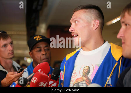 Kiev, Ukraine. On 18 September 2016 Ukraine's new WBO Cruiserweight World Champion Alexander Usyk arrived to Kiev - Stock Photo