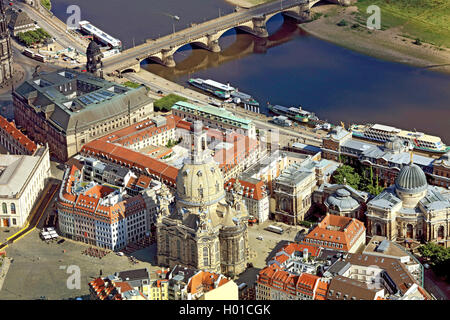 Innenstadt von Dresden mit Frauenkirche, 20.06.2016, Luftbild, Deutschland, Sachsen, Dresden   inner city of Dresen - Stock Photo