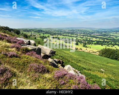 View over Wharfedale from Woodhouse Crag Ilkley Moor West Yorkshire England - Stock Photo