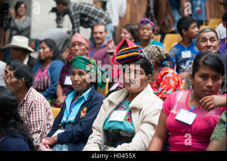 Maya Indigenous in the courtroom for former Guatemalan dictator, Efrain Rios Montt Genocide Trial in Guatemala City, - Stock Photo