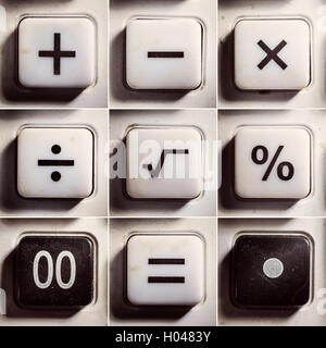 Set of buttons from an old calculator, symbols of mathematical operations. - Stock Photo