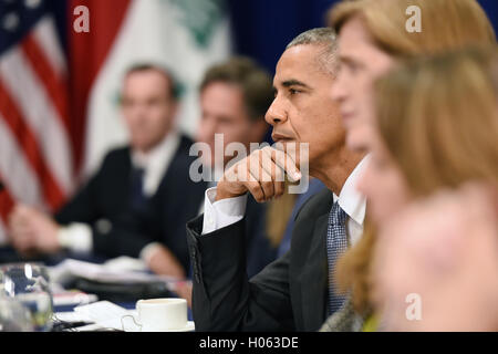 New York, USA. 19th Sep, 2016. United States President Barack Obama attends a bilateral meeting with Prime Minister - Stock Photo