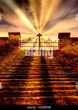 Stairway to heaven, afterlife. Cross on gate. With rays. - Stock Photo