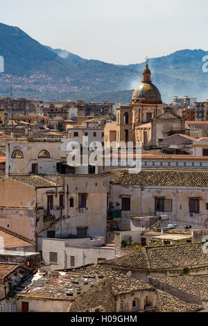 View of the rooftops of Palermo with the hills beyond, Sicily, Italy, Europe - Stock Photo