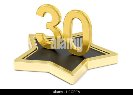 golden number 30 on star podium, award concept. 3D rendering  isolated on white background - Stock Photo