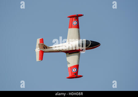 Close view of BAC Jet Provost T5 performing aerobatics at Southport Airshow 2014 - Stock Photo