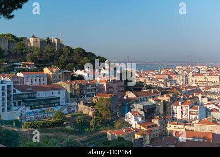 City view to castle and 25 April bridge, Lisbon Portugal - Stock Photo