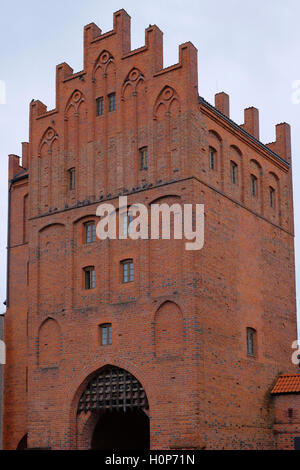 View of the 19th century Upper Gate or High Gate in the old town of the city of Olsztyn capital of the Warmian-Masurian - Stock Photo