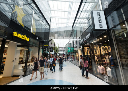 Interior of new De Passage shopping mall in Den Haag, The Hague, Netherlands - Stock Photo