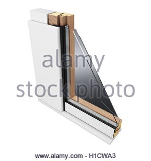 3d detailed window profile on white background - Stock Photo