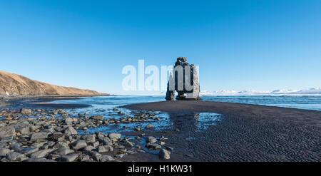 Hvitserkur, Elephant Rock on lava beach, natural basalt rock formation, Northwestern Region, Iceland - Stock Photo