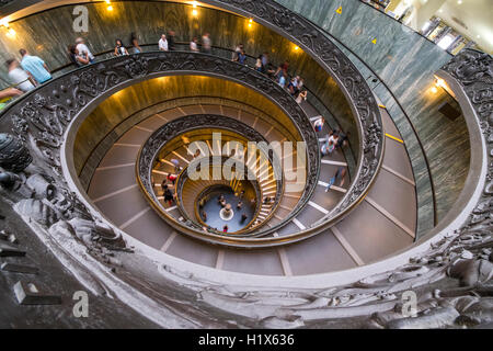 The Bramante staircase in the Vatican Museum - Stock Photo