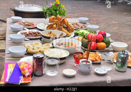 Nha Trang, Vietnam - February 5, 2016: Vietnamese worship tray of foods in the lunar new year - Stock Photo