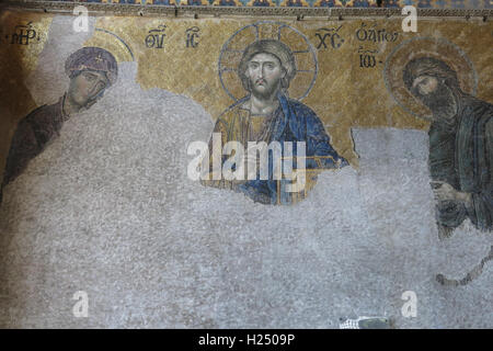 Mosaic with the representation of Christ Pantocrator. Considered one of the most beautiful mosaics of Byzantine - Stock Photo