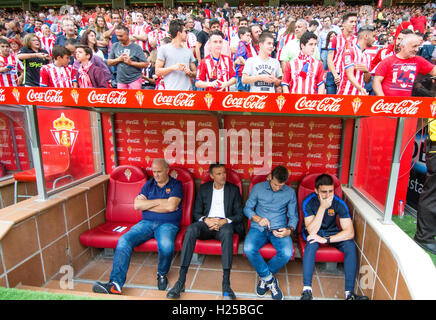 Gijon, Spain. 24th September, 2016. Luis Enrique (Coach, FC Barcelona) during the football match of sixth round - Stock Photo