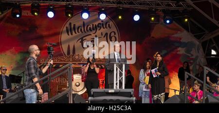 London, UK. 24th September 2016,Speech at Malaysia Fest Credit:  Kamil Mielczarek/Alamy Live News - Stock Photo