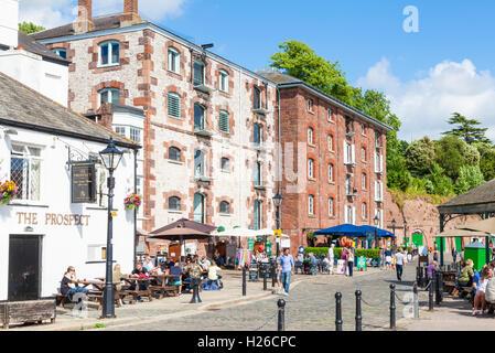 Shops and restaurants at Exeter Quay Exeter Devon England UK GB EU Europe - Stock Photo