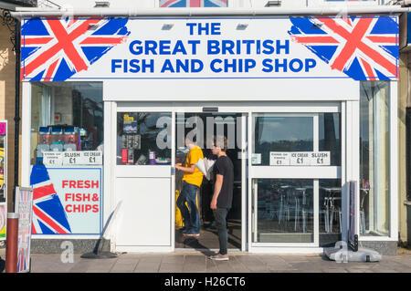 Traditional British fish and chip shop Torquay Devon England UK GB Europe EU - Stock Photo