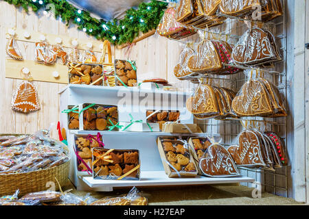 Various gingerbread goods which were sold at the Christmas Market in Vilnius, Lithuania. Sweets can be differently - Stock Photo