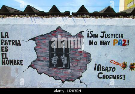 Street art, Latin america, Puerto Ordaz, Venezuela. free but jailed. - Stock Photo