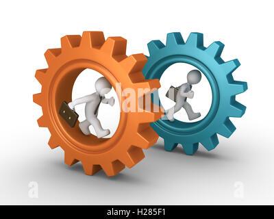 Two businessmen running inside cogwheels - Stock Photo