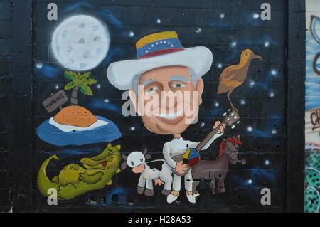 Latino street art, Puerto Ordaz, Venezuela. Simon Diaz tribute - Stock Photo