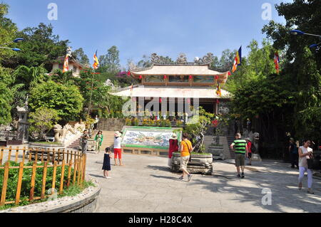 Nha Trang, Vietnam - February 7, 2016: People are visiting pagoda on the first day of the lunar new year in Vietnam - Stock Photo