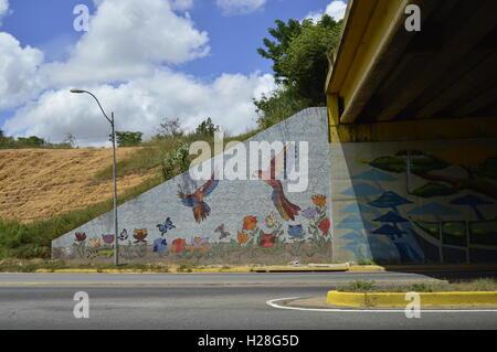Latino street art, Puerto Ordaz Venezuela. Eco mosaic. - Stock Photo