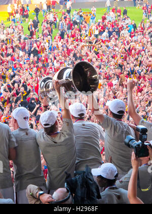 Sparta Prague foootball players team group celebrating the victory and become champion of game while holding win - Stock Photo
