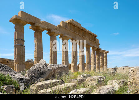 Greek ancient Temple C, Acropolis, Archaeological Park Selinunte, Selinunte, Sicily, Italy - Stock Photo