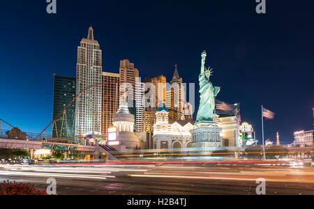 New York New York Hotel and Casino at night, Las Vegas, Nevada, USA - Stock Photo