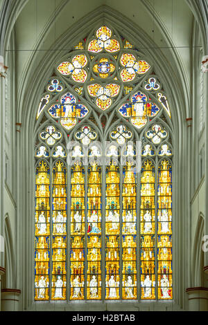 Stained Glass Window in Cathedral of Altenberg, Germany - Stock Photo