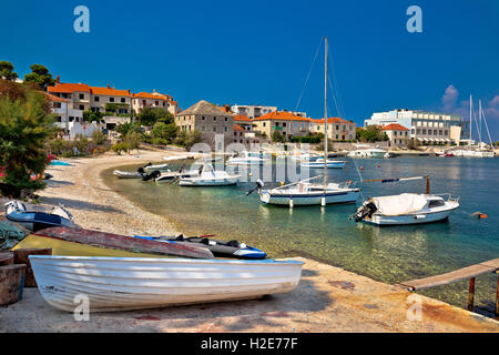 Dalmatian beach in Postira village, Island of Brac, Croatia - Stock Photo