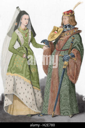 Holy Roman Emperor Maximilian I (1459-1519) with his wife Mary of Burgundy (1457-1482). Engraving. Colored. - Stock Photo