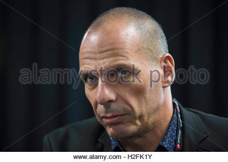 File photo dated 13/09/15 of former Greek Finance Minister Yanis Varoufakis who has lampooned ex-chancellor George - Stock Photo