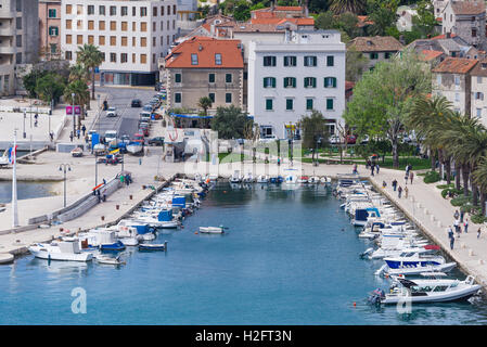 Fishing and pleasure boats line the harbour in Matejuska at the end of Split riva in Croatia. - Stock Photo