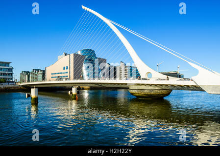 Samuel Beckett Bridge over River Liffey Dublin Ireland with Convention Centre Dublin behind - Stock Photo