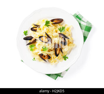 Pasta with seafood. Mussels. Isolated on white background. Top view - Stock Photo