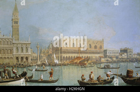 Giovanni Antonio Canal, know as Canaletto - Venise: Ducal Palace and Saint Mark's Square - 1730 - Stock Photo