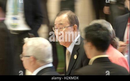 UN Secretary General Ban Ki-moon arrives at the Association of Southeast Asian Nations (ASEAN) summit the Laotian - Stock Photo