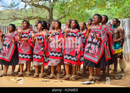 Traditional Swazi dancing  display by the troupe at Mantenga Cultural Village, Ezulwini Valley, eSwatini formerly - Stock Photo