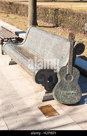 Vilnius, Lithuania - March 16, 2015: Memorial for Vytautas Kernagis (1951-2008), lithuanian bard, singer, songwriter, - Stock Photo
