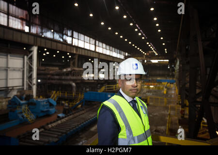 Sanjeev Gupta, CEO of Liberty House Group, at Liberty Steel Dalzell steelworks in Motherwell, Scotland, on 28 September - Stock Photo
