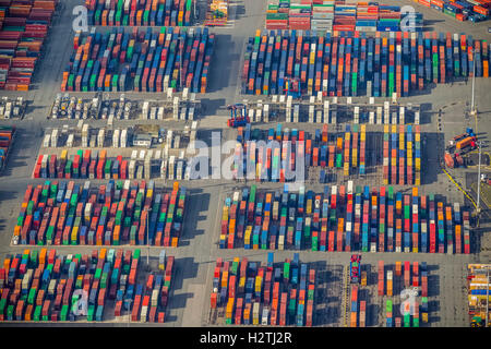 Aerial picture, Hamburg harbour, container port Walter's court, container, to container crane, Hamburg, Hamburg, - Stock Photo