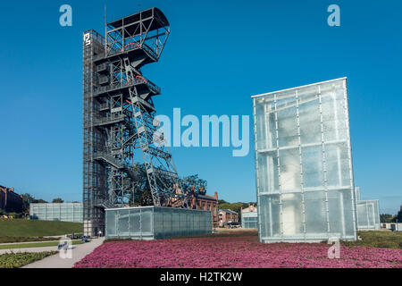 KATOWICE, POLAND - AUGUST 25, 2016: The modern buildings of Silesian Museum accompanied by a shaft of the former - Stock Photo