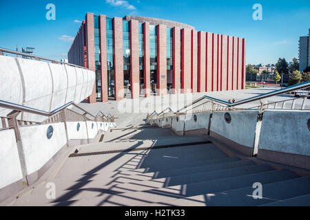 KATOWICE, POLAND - AUGUST 25, 2016: Modern concert hall of The National Orchestra of Polish Radio located in a modern - Stock Photo