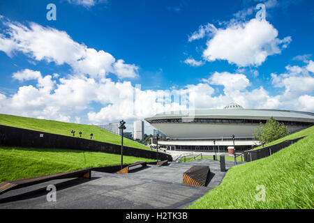 KATOWICE, POLAND - AUGUST 24, 2016: The new public area situated on the grass-covered roof of the Congress Center - Stock Photo